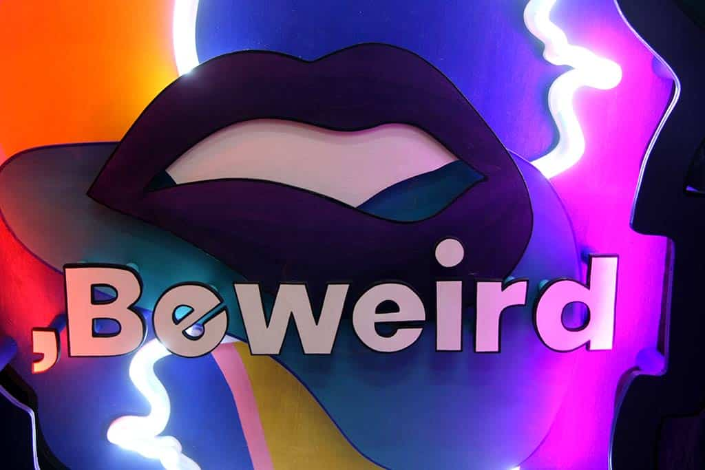 Beweird agency Funki sign