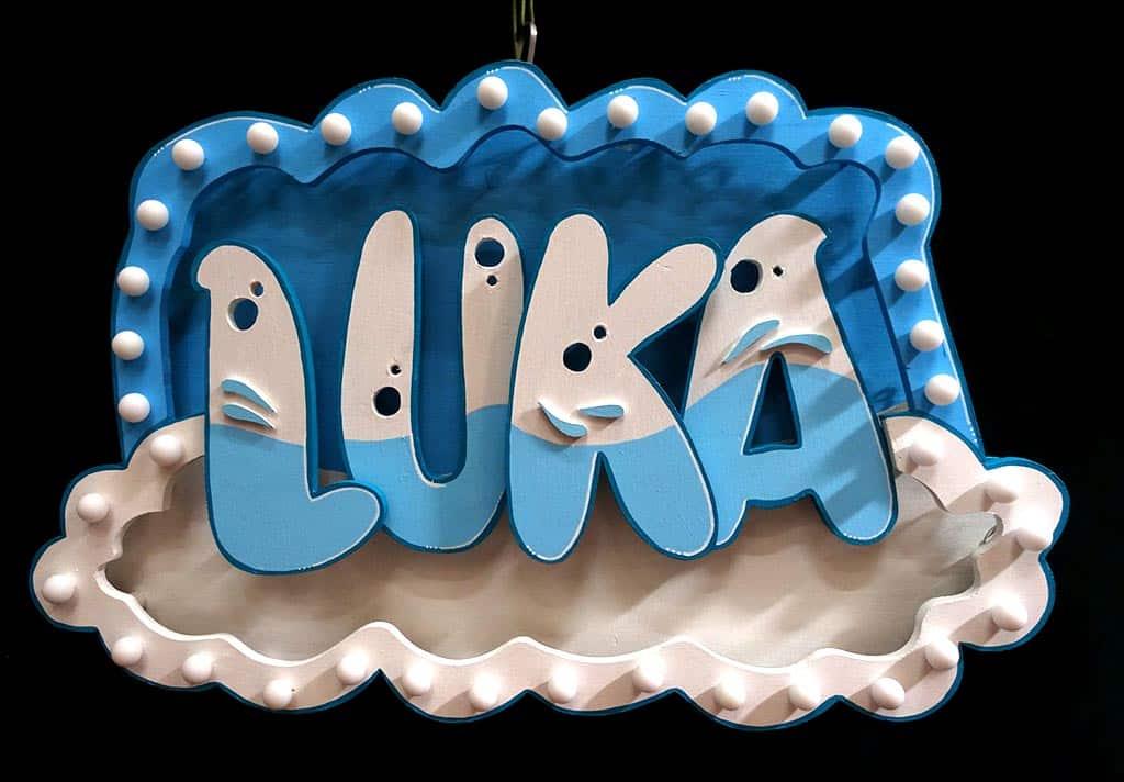 Mini enseigne neon sur mesure pour enfant, cadeau de naissance Luka 4