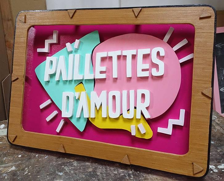 Sign led neon Paillettes d'amour