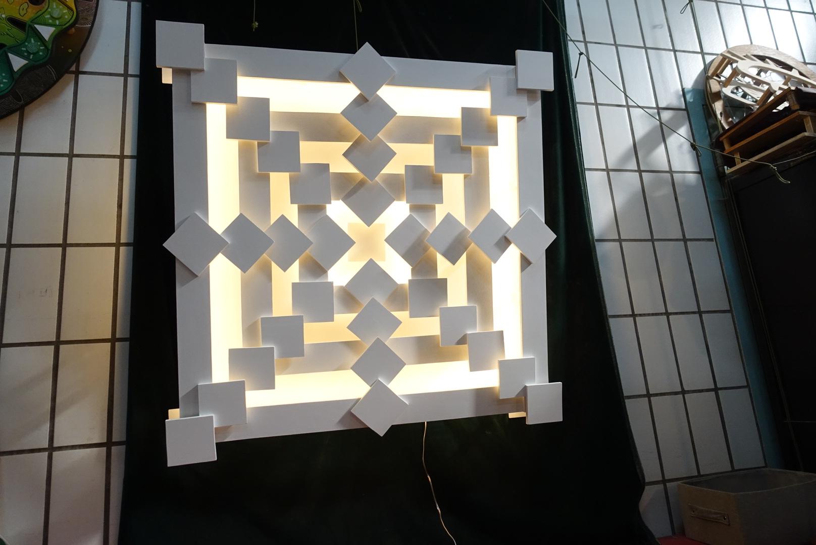 Mandala carré retro-éclairé