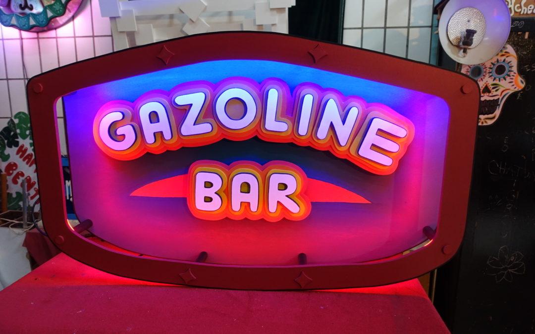 Enseigne lumineuse vintage Gazoline Bar